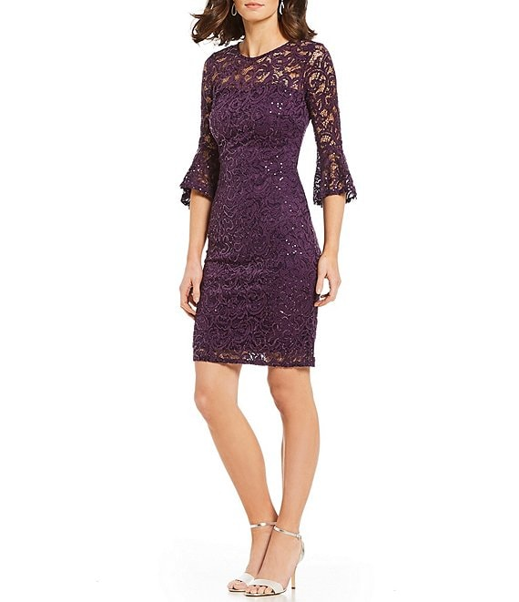 Color:Eggplant - Image 1 - Bell Sleeve Sequin Lace Dress