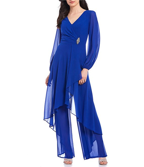 Color:Royal - Image 1 - Chiffon Overlay Long Sleeve V-Neck Jumpsuit