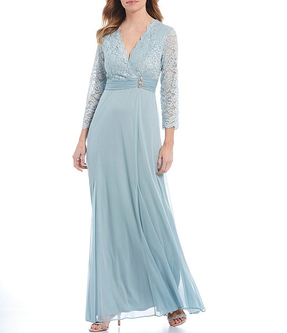Color:Sage - Image 1 - Glitter Lace Bodice 3/4 Sleeve Gown