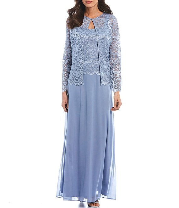 Color:Light Blue - Image 1 - Glitter Lace Jacket Long Gown