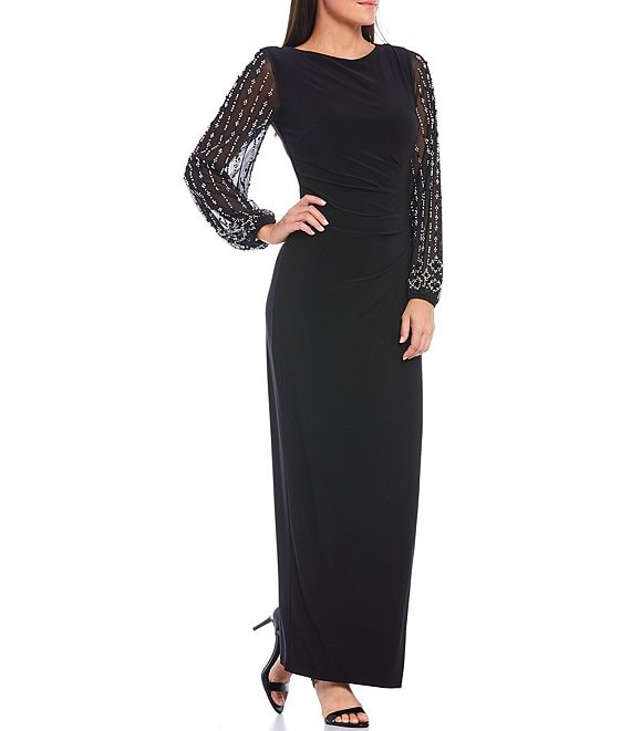 Color:Black - Image 1 - Long Beaded Sleeves Matte Jersey Gown