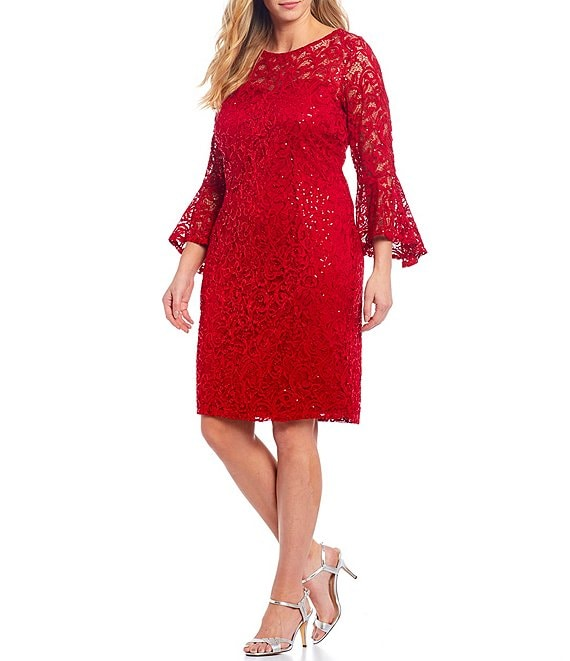 Color:Red - Image 1 - Plus Sequin Lace Bell-Sleeve Dress
