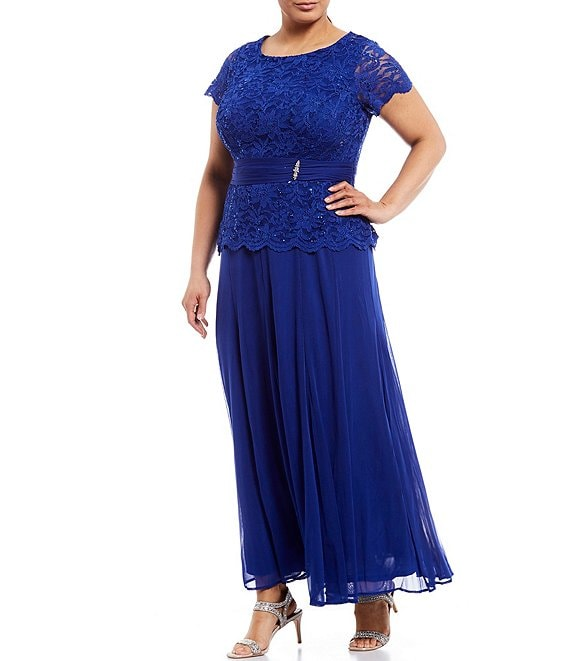 Color:Cobalt - Image 1 - Plus Size Lace Bodice Long Gown