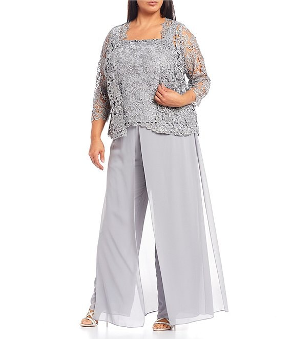 Color:Silver - Image 1 - Plus Size Lace Bodice Illusion Sleeve Jacket Pebbled Georgette 3-Piece Pant Set
