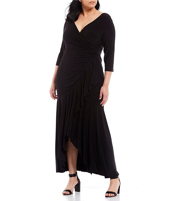 Color:Black - Image 1 - Plus Size V-Neck Draped Ruffle Hem Long Gown