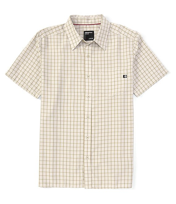 Color:Moonbeam - Image 1 - Eldridge Check Short-Sleeve Recycled Materials Woven Shirt