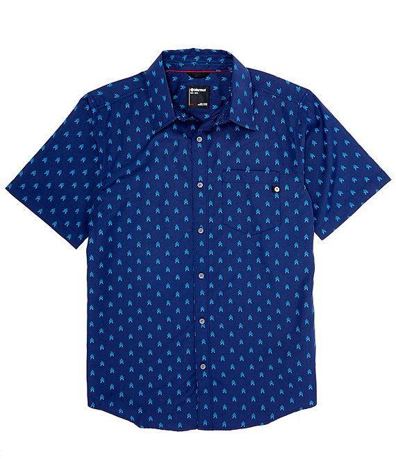 Color:Arctic Navy - Image 1 - Lykken Arrows Print Short-Sleeve Woven Shirt