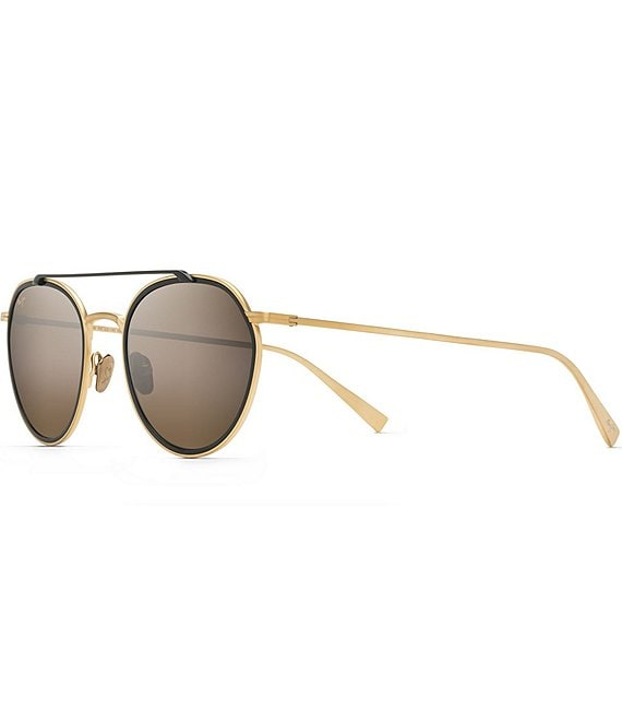 Color:Gold Matte - Image 1 - Bowline PolarizedPlus2® Round Fashion 53mm Sunglasses