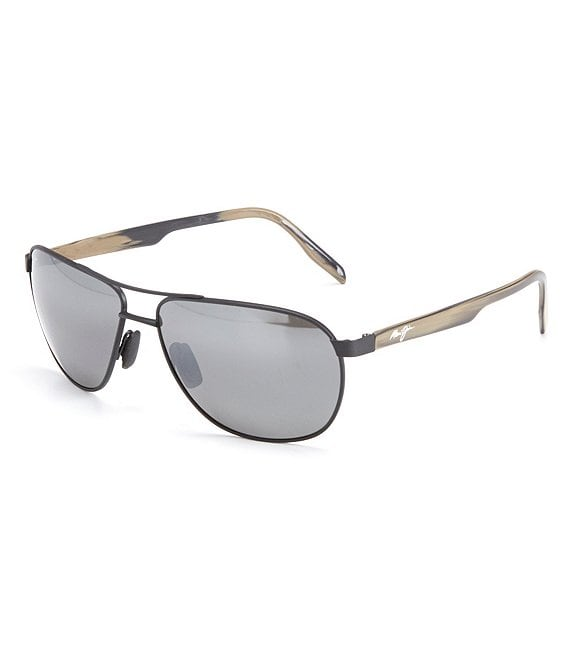 Color:Matte Black - Image 1 - Castles PolarizedPlus2® Aviator 61mm Sunglasses