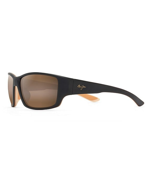 Color:Matte Dark Transparent Brown with Tan and Cream - Image 1 - Local Kine PolarizedPlus2® Wrap 61mm Sunglasses