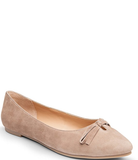 Color:Grey - Image 1 - Alondra Suede Bow Detail Slip-On Flats