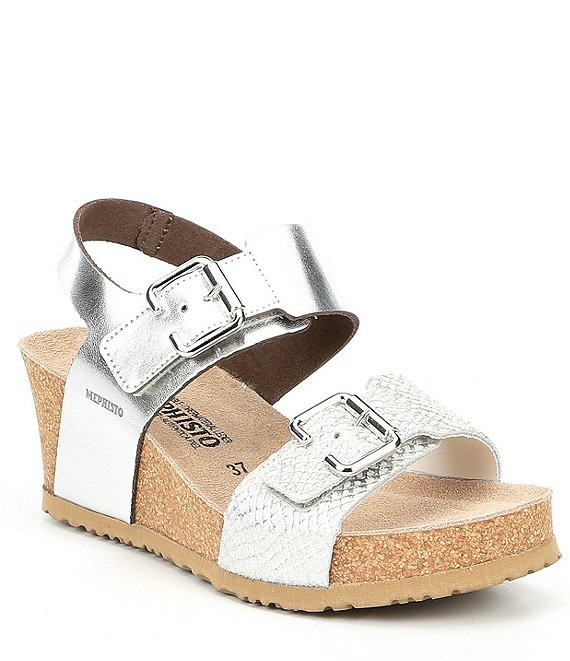 Mephisto Lissandra Leather & Cork Wedge Sandals