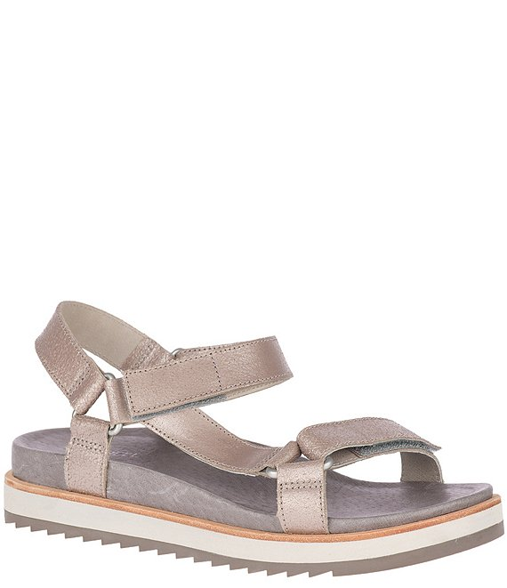 Color:Metallic - Image 1 - Juno Strap Leather Sandals