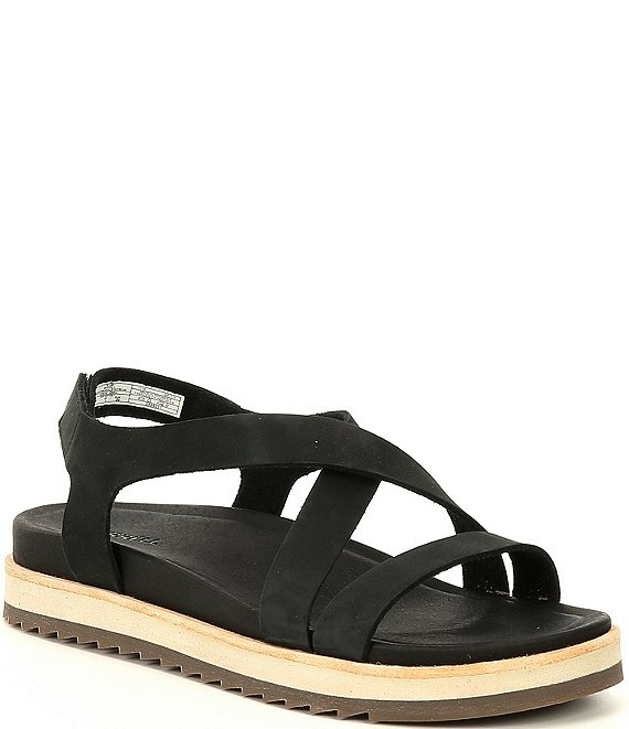 Color:Black - Image 1 - Juno Suede Leather Backstrap Sandals