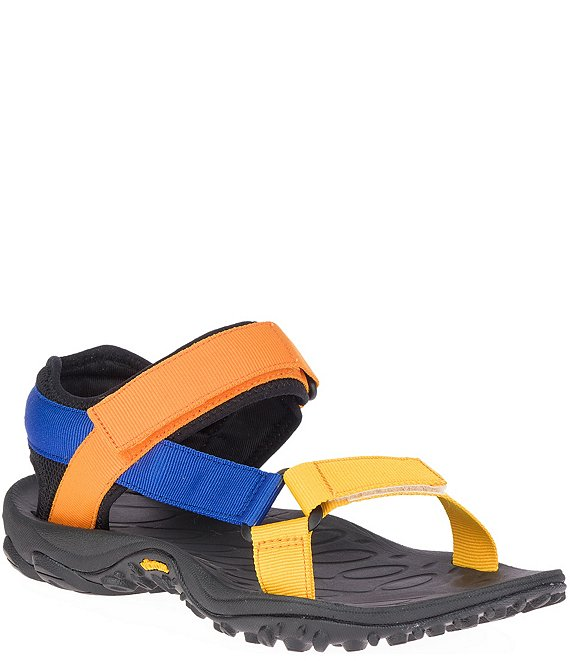Color:Blue/Orange - Image 1 - Men's Kahuna Colorblock Web Sandals