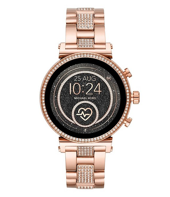 Color:Rose Gold - Image 1 - Access Sofie Heart Rate Touchscreen Pave Band Smartwatch