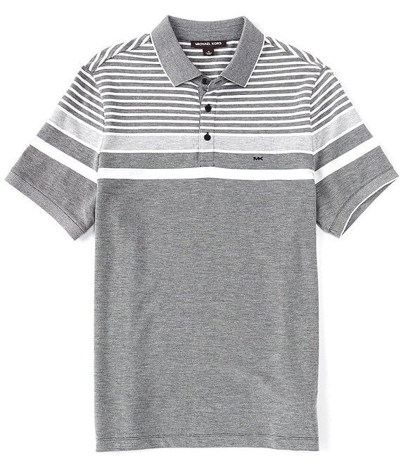 Michael Kors Birdseye Stripe Classic Fit Short-Sleeve Polo Shirt