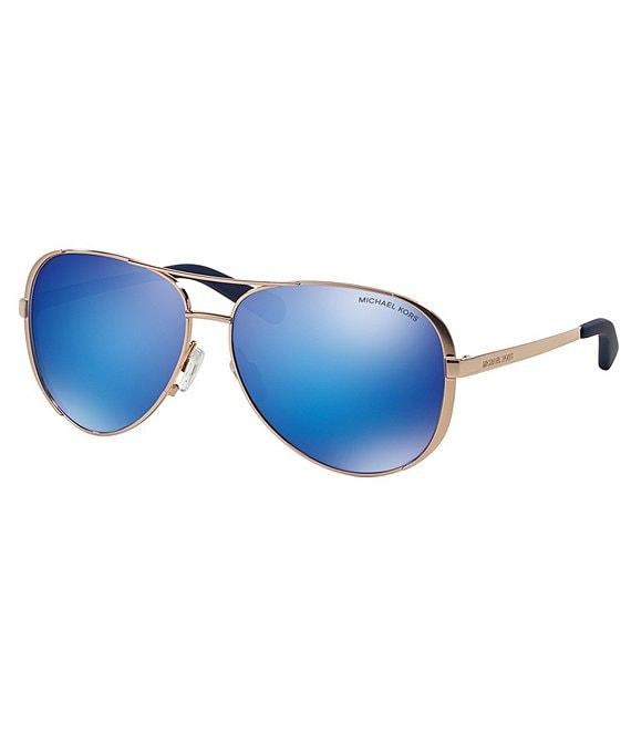 Color:Blue - Image 1 - Chelsea Flash Mirror Metal Aviator Sunglasses
