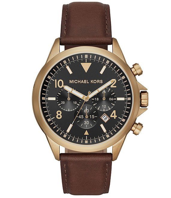 Color:Brown - Image 1 - Gage Chronograph Chocolate Leather Watch