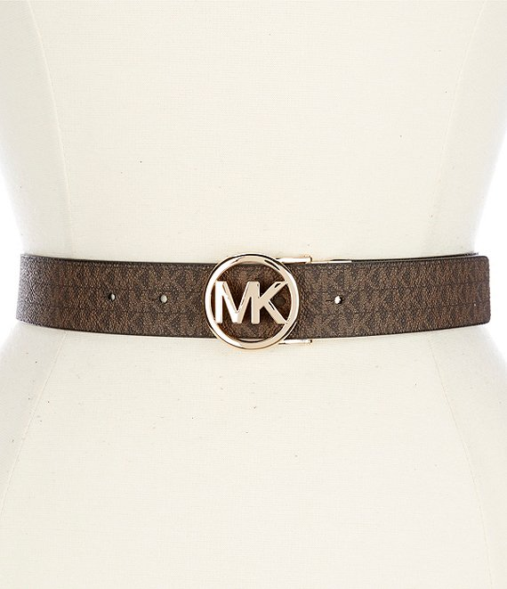 MICHAEL Michael Kors Reversible Logo Signature Buckle PVC Belt