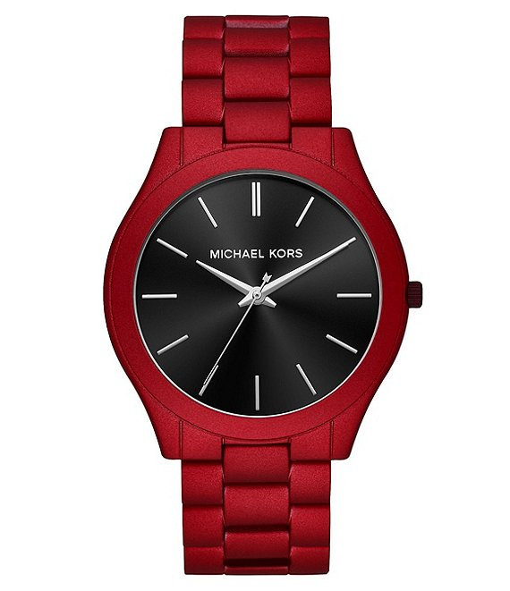 ccad15d7e Michael Kors Men's Slim Runway Three-Hand Red Coated Stainless Steel Watch  | Dillard's