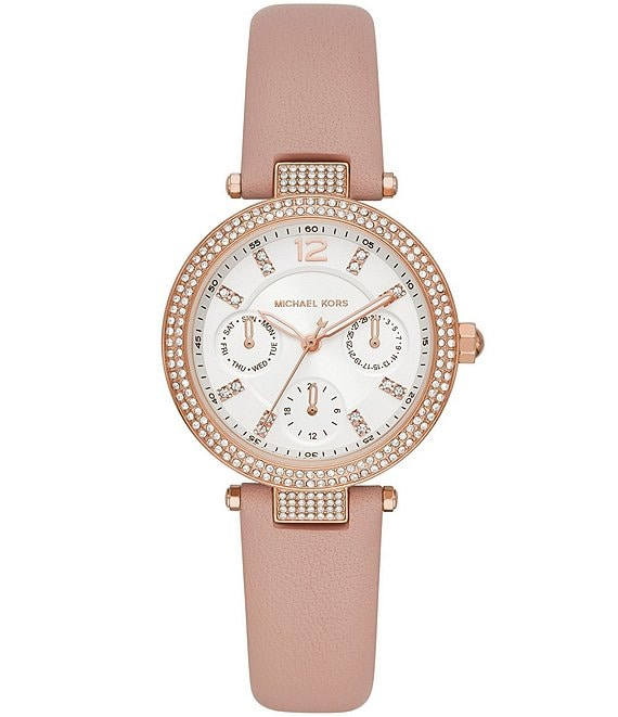 Color:Blush - Image 1 - Parker Multifunction Blush Leather Watch
