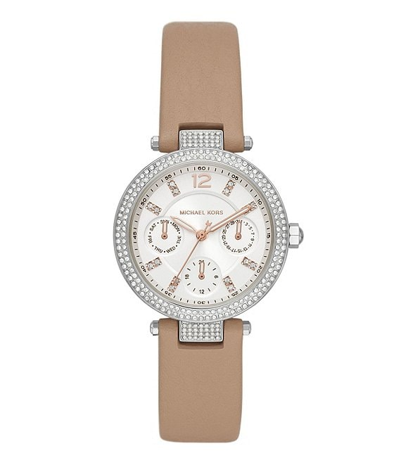 Color:Truffle - Image 1 - Parker Multifunction Truffle Leather Watch