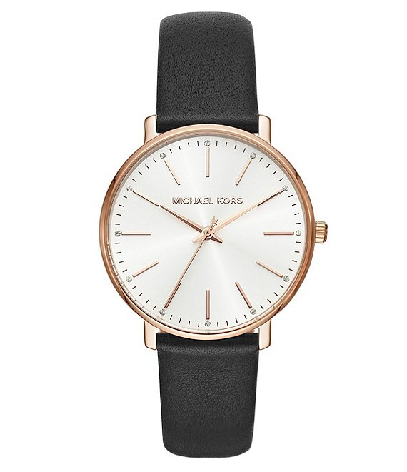 Michael Kors Pyper Three-Hand Black Leather Watch