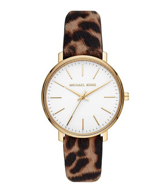 Color:Cheetah - Image 1 - Pyper Three-Hand Cheetah-Print Leather Strap Watch