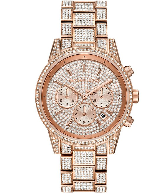 Color:Rose Gold - Image 1 - Ritz Three-Hand Glitz Rose Gold-Tone Stainless Steel Watch