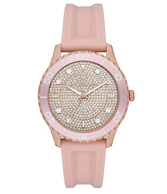 Color:Blush - Image 1 - Runway Three-Hand Blush Silicone Watch