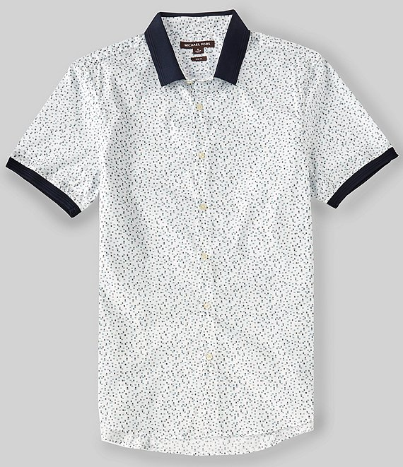 Color:Lagoon - Image 1 - Slim-Fit Ottoman Print Stretch Short-Sleeve Woven Shirt