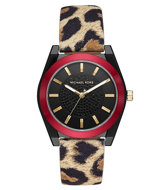 Color:Leopard - Image 1 - Women's Channing Three-Hand Cheetah Print Leather Watch