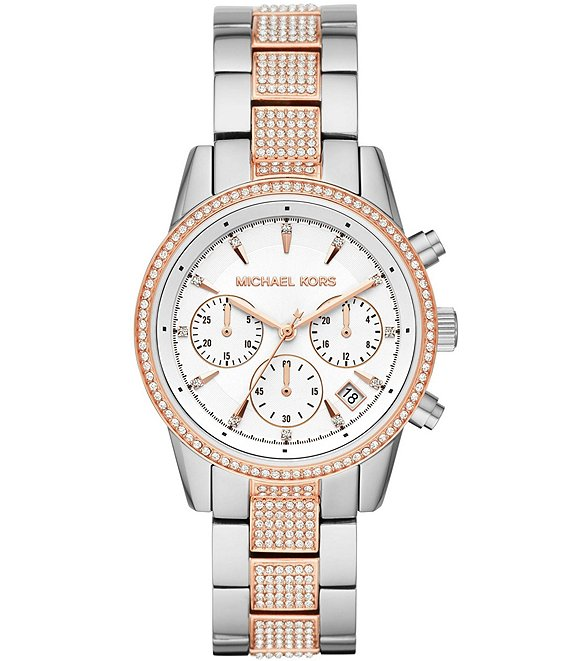 Color:Two-Tone - Image 1 - Women's Ritz Chronograph Two-Tone Stainless Steel Watch
