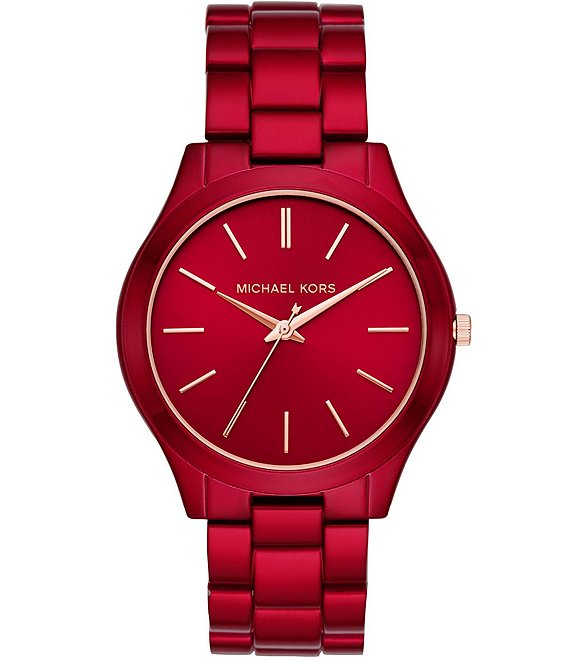 653844b92 Michael Kors Women's Slim Runway Three-Hand Red-Coated Stainless Steel Watch  | Dillard's