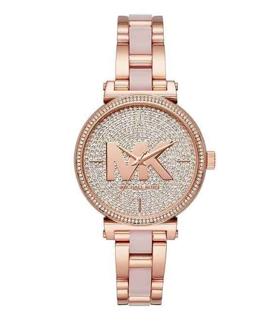 Michael Kors Women S Sofie Three Hand Rose Gold Tone Rhinestone Accent Stainless Steel Watch Dillard S