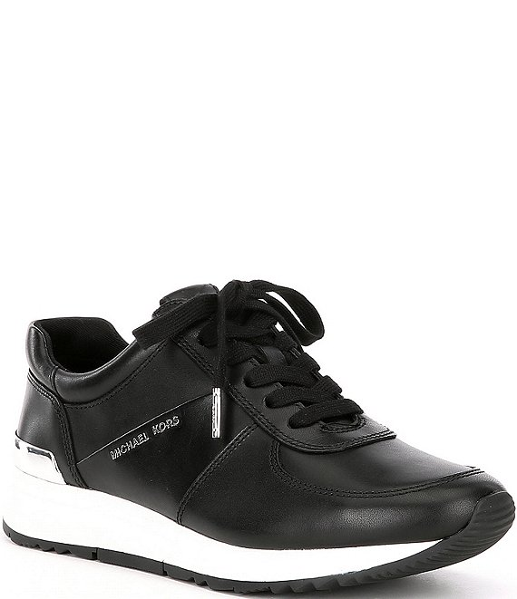 Color:Black - Image 1 - MICHAEL Michael Kors Allie Leather Trainers