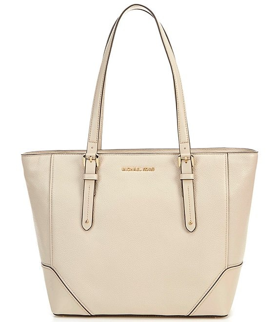 Color:Light Sand - Image 1 - MICHAEL Michael Kors Aria Leather Large Tote Bag