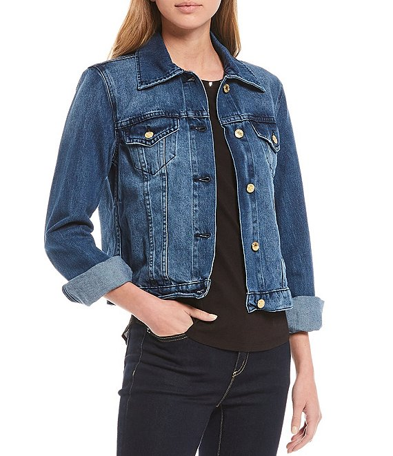 Color:Riviera - Image 1 - MICHAEL Michael Kors Basic Cotton Denim Jacket