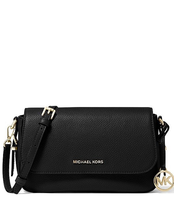 Color:Black - Image 1 - Bedford Legacy Large Flap Leather Crossbody Bag