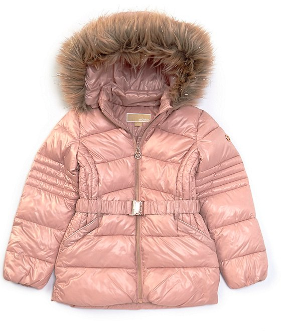 Color:Blush - Image 1 - MICHAEL Michael Kors Big Girls 7-16 Belted Faux-Fur Trim Hooded Puffer Coat