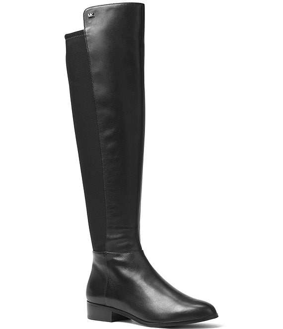 Color:Black - Image 1 - MICHAEL Michael Kors Bromley Tall Leather Block Heel Boots