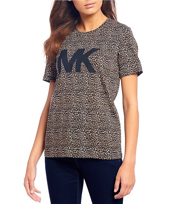 Color:Dark Camel - Image 1 - MICHAEL Michael Kors Cheetah Print Cotton Knit Jersey Logo Tee