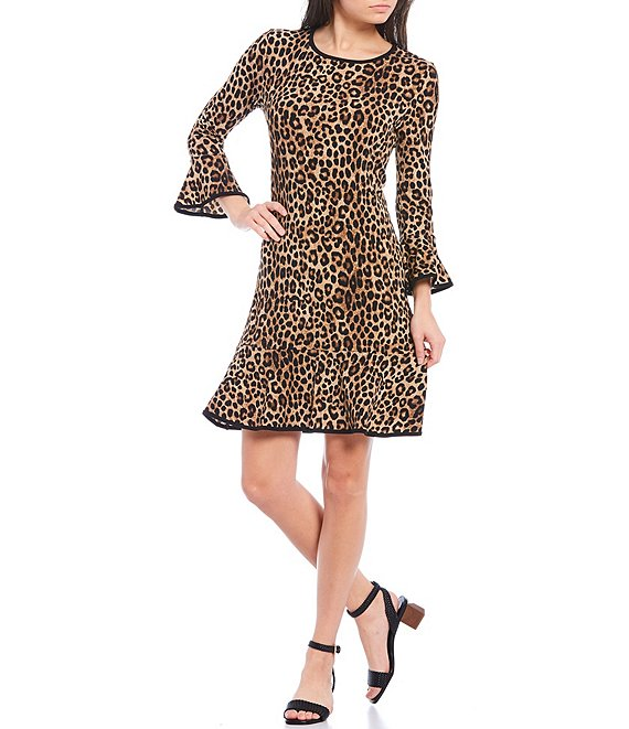 Color:Dark Camel - Image 1 - MICHAEL Michael Kors Cheetah Print Matte Jersey Flounce Sleeve Tubular Trim A-Line Dress