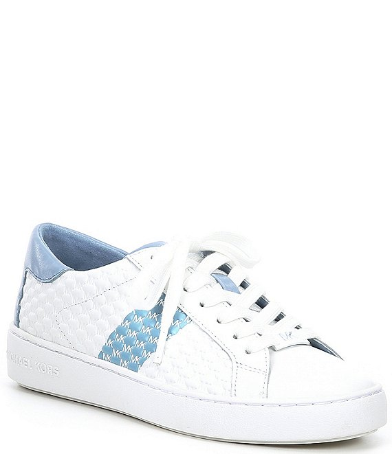 Color:Pale Blue - Image 1 - MICHAEL Michael Kors Colby Colorblock Leather Sneakers