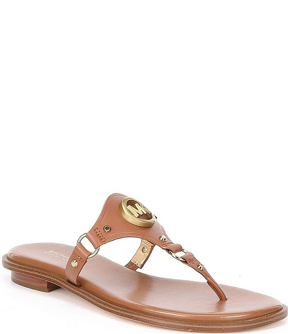 Color:Luggage - Image 1 - MICHAEL Michael Kors Conway Leather Thong Sandals