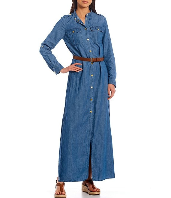 Color:Light Cade Wash - Image 1 - MICHAEL Michael Kors Cotton Chambray Roll-Tab Sleeve Snap-Front Belted Maxi Shirtdress