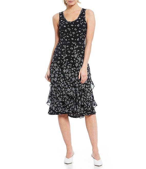 02ac1e4aa5e MICHAEL Michael Kors Ditsy Daisy Floral Print Scoop Neck Cascading Ruffle  Trim Sleeveless Midi Dress