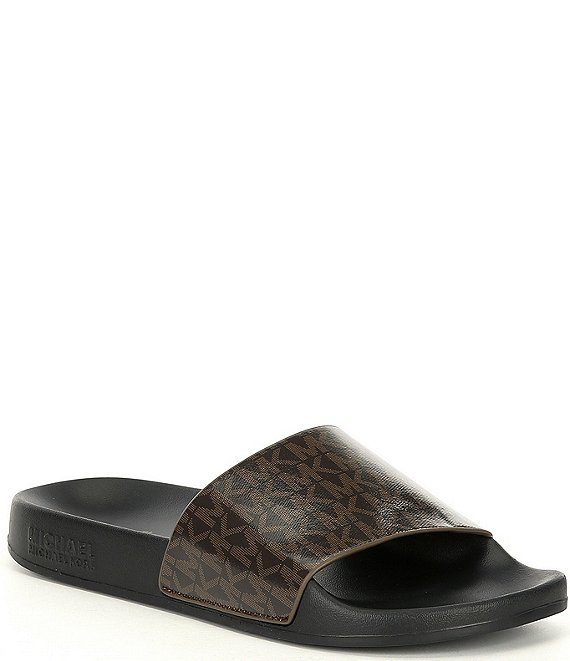 Color:Brown - Image 1 - MICHAEL Michael Kors Gilmore Logo Canvas Pool Slides