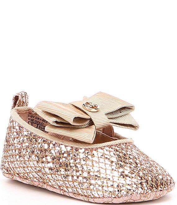 4329cd130d203 MICHAEL Michael Kors Girls' Baby Day Sparkle Ballet Bow Detail Crib Shoes